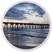 Pier In The Evening Round Beach Towel by Sandy Keeton