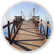 Pier On Costa Del Sol In Marbella Round Beach Towel
