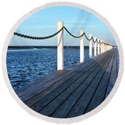 Pier To The Ocean Round Beach Towel