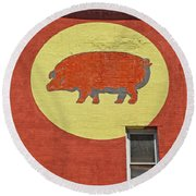Pig On A Wall Round Beach Towel