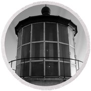 Pigeon Point Lighthouse Beacon - Black And White Round Beach Towel