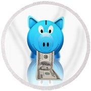 Piggy Bank Round Beach Towel