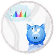 Piggy Bank With Graph Round Beach Towel