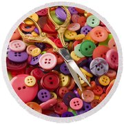 Pile Of Buttons With Scissors  Round Beach Towel by Garry Gay