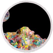 Pile Of Color In Space Two K O Four Round Beach Towel