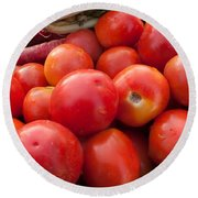 Pile Of Red Luscious Tomatoes Along With Carrots On A Vegetable Basket Round Beach Towel