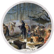 Pilgrims: First Winter, 1620 Round Beach Towel