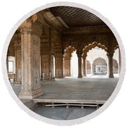 Pillars Of Building Inside Red Fort Round Beach Towel