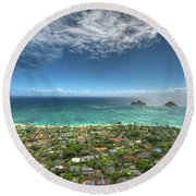 Pillbox View Of Mokulas Round Beach Towel