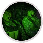 Pilots In The Cockpit Of An Oh-58d Round Beach Towel