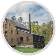 Pine Creek Grist Mill At Fall Round Beach Towel