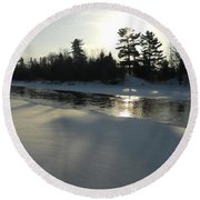 Pine Trees Casting Shadows Round Beach Towel