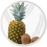 Pineapple And Kiwis Round Beach Towel