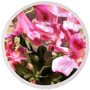 Pink Alstroemeria  Round Beach Towel