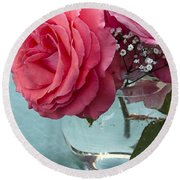 Pink And Aqua Roses Round Beach Towel