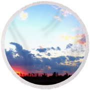 Pink And Blue Sunset Round Beach Towel