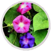 Pink And Purple Morning Glories Round Beach Towel