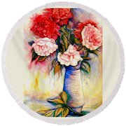 Pink And Red Peony Roses In A Tall Blue Porcelain Vase Round Beach Towel