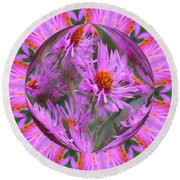 Pink Asters Energy Round Beach Towel