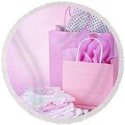 Pink Baby Shower Presents Round Beach Towel
