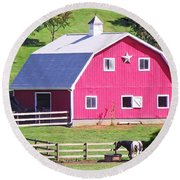 Pink Barn In The Summer Round Beach Towel