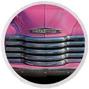 Pink Chevrolet Truck Round Beach Towel