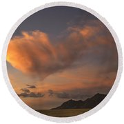 Pink Cloud Round Beach Towel