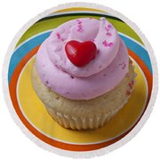 Pink Cupcake With Red Heart Round Beach Towel