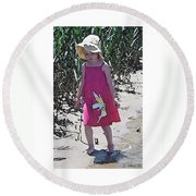 Pink Dress Round Beach Towel