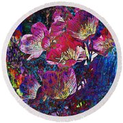 Pink Floral Abstract Round Beach Towel