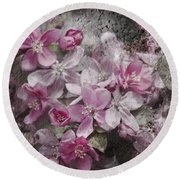 Pink Flowering Crabapple And Grunge Round Beach Towel