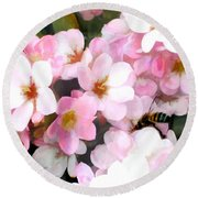 Pink Flowers With Bee Round Beach Towel