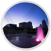 Pink Fountain Round Beach Towel
