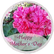 Pink Geranium Greeting Card Mothers Day Round Beach Towel