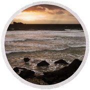 Pink Granite Coast At Sunset Round Beach Towel