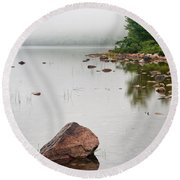 Pink Granite In Jordan Pond At Acadia Round Beach Towel by Steve Gadomski
