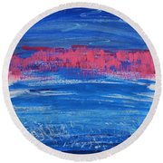 Pink In Sky Over Whitecaps Round Beach Towel