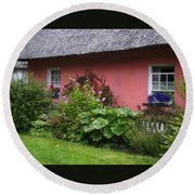 Pink Irish Cottage Round Beach Towel
