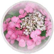 Pink Lace Cap Hydrangea Flowers Round Beach Towel