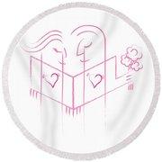 Pink Love Round Beach Towel