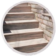Pink Marble Staircase In Patmos Greece Round Beach Towel