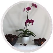 Pink Phalaenopsis Orchid And Sour Cherries Round Beach Towel