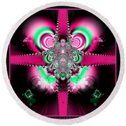 Pink Ribbons And Bow Fractal 75 Round Beach Towel