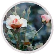 Pink Rose Bush Round Beach Towel