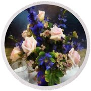 Pink Roses And Purple Delphinium Round Beach Towel