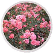 Pink Roses Canvas Round Beach Towel