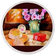 Pink Roses In A Green Vase With A String Of Pearls And A Pretty Summer Straw Hat  Round Beach Towel
