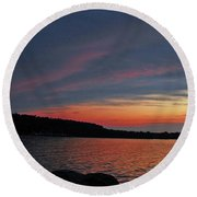Pink Sky At Night Round Beach Towel