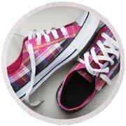 Pink Sneakers Round Beach Towel
