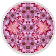 Pink Splash Mandala Abstract Round Beach Towel